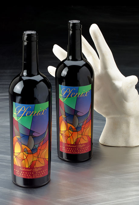 Wine label for Pfenix  a red California table wine blended using rare Pfeffer grapes– Winner of the Orange County, CA wine label awards