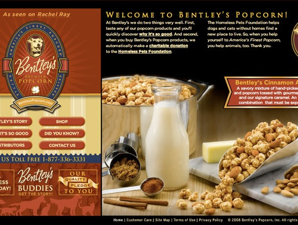 Web site design and development for Bentley¹s Popcorn