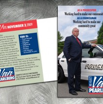 Direct mail postcard for Van Pearlberg, political candidate