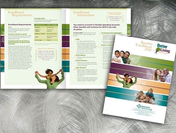 Interactive booklet design for employee health benefits guide, Piedmont Healthcare