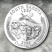 Design for the US Mint¹s 50 State Quarter Program, South Dakota reverse